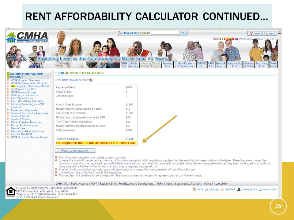 RENT AFFORDABILITY CALCULATOR CONTINUED… 20