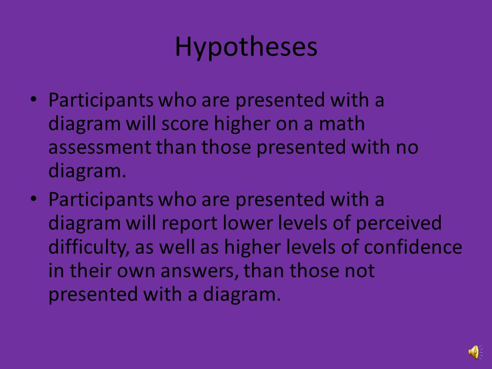 Hypotheses Participants who are presented with a diagram will score higher on a math assessment than those presented with no diagram.