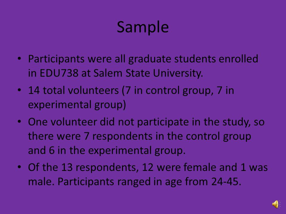 Sample Participants were all graduate students enrolled in EDU738 at Salem State University.
