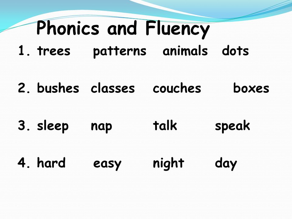 Phonics and Fluency 1.trees patterns animalsdots 2.bushes classes couches boxes 3.