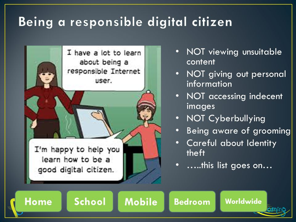 NOT viewing unsuitable content NOT giving out personal information NOT accessing indecent images NOT Cyberbullying Being aware of grooming Careful about Identity theft …..this list goes on… HomeSchool Mobile Bedroom Worldwide