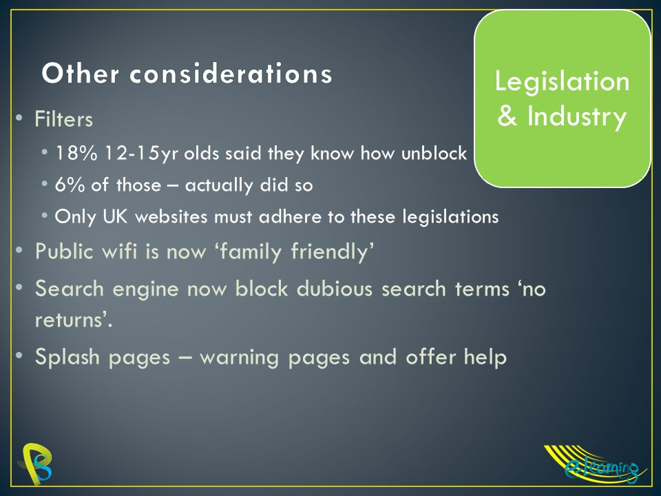 Filters 18% 12-15yr olds said they know how unblock 6% of those – actually did so Only UK websites must adhere to these legislations Public wifi is now 'family friendly' Search engine now block dubious search terms 'no returns'.