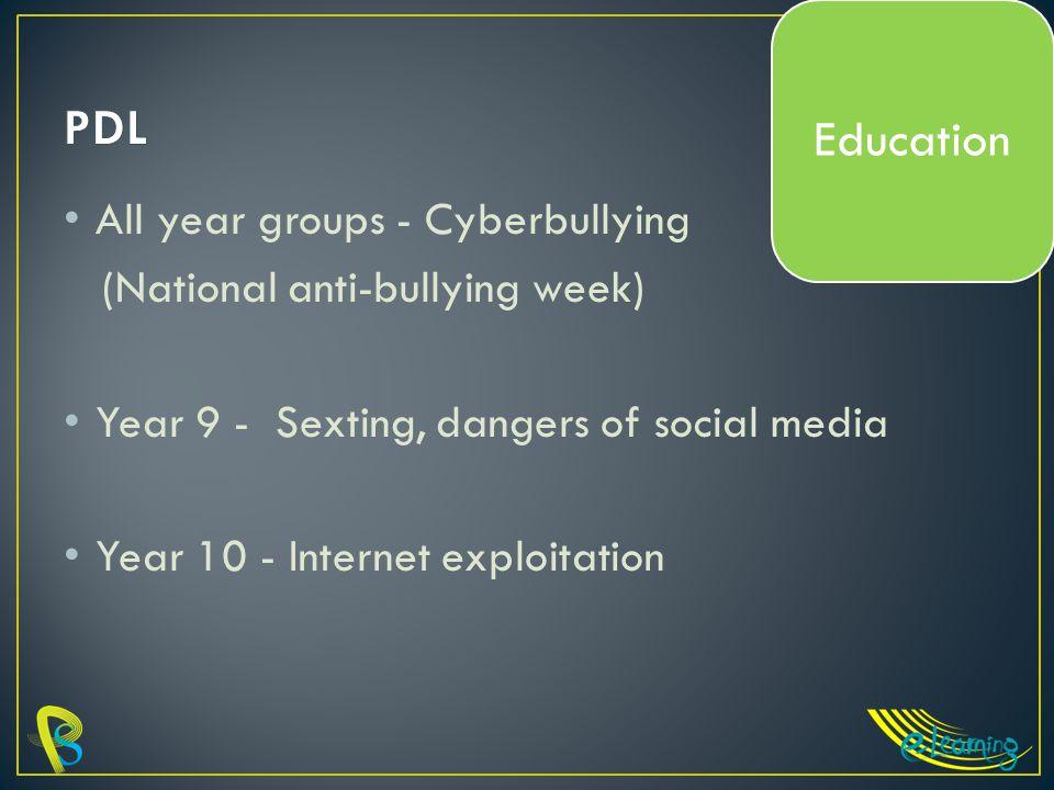 All year groups - Cyberbullying (National anti-bullying week) Year 9 - Sexting, dangers of social media Year 10 - Internet exploitation Education