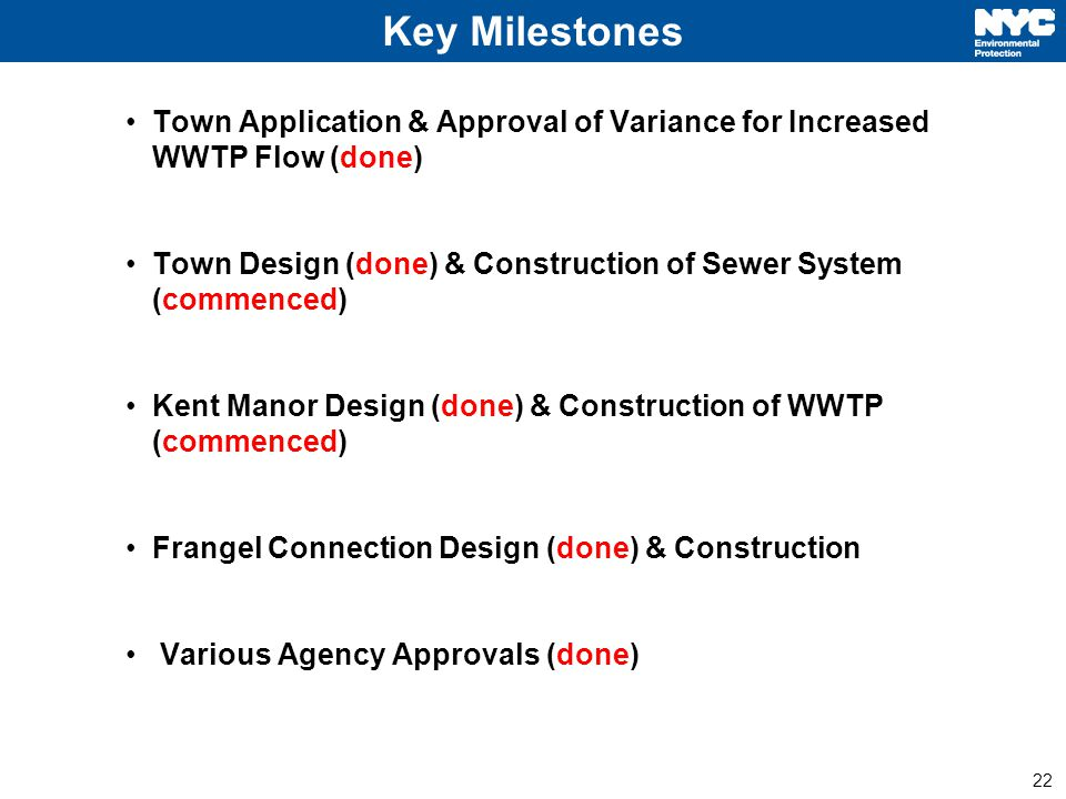 22 Key Milestones Town Application & Approval of Variance for Increased WWTP Flow (done) Town Design (done) & Construction of Sewer System (commenced) Kent Manor Design (done) & Construction of WWTP (commenced) Frangel Connection Design (done) & Construction Various Agency Approvals (done)