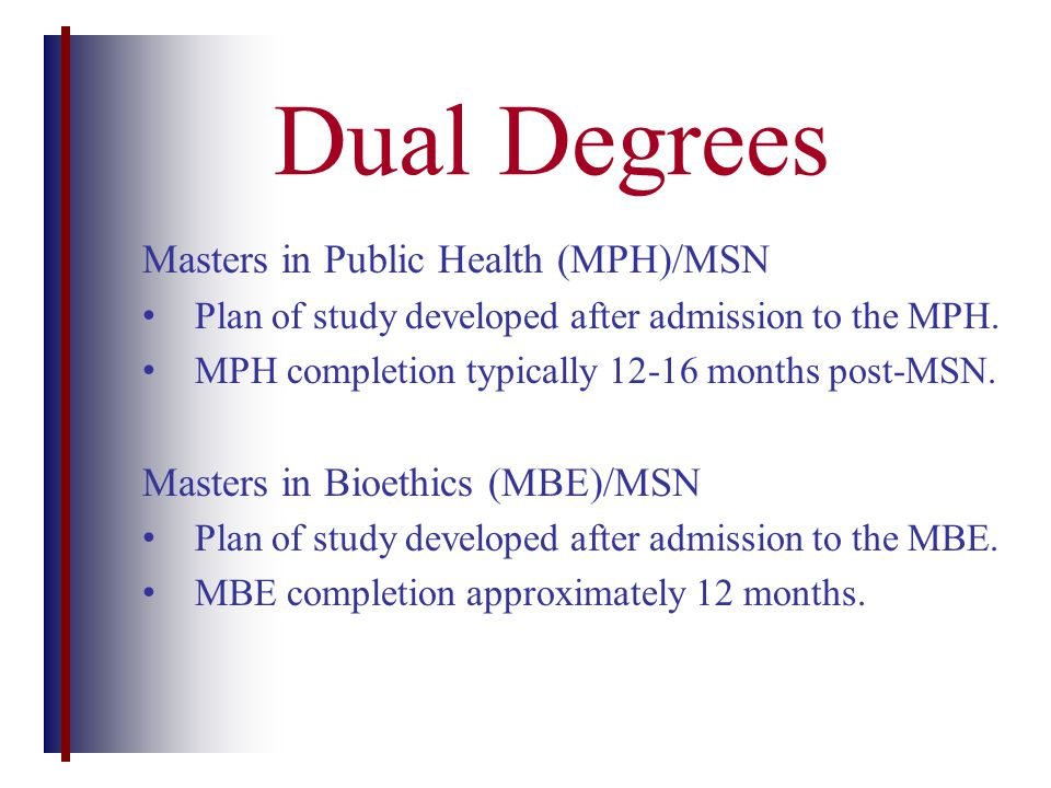 Masters in Public Health (MPH)/MSN Plan of study developed after admission to the MPH.