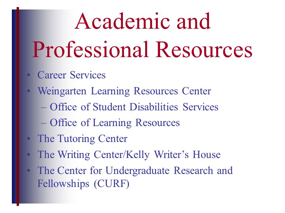Academic and Professional Resources Career Services Weingarten Learning Resources Center –Office of Student Disabilities Services –Office of Learning Resources The Tutoring Center The Writing Center/Kelly Writer's House The Center for Undergraduate Research and Fellowships (CURF)