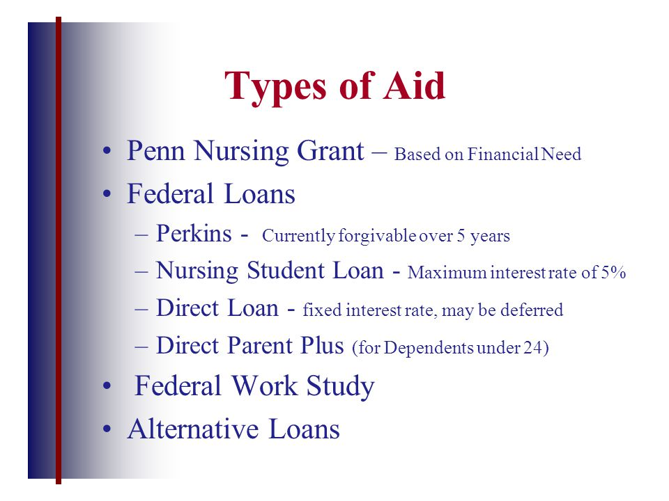 Types of Aid Penn Nursing Grant – Based on Financial Need Federal Loans –Perkins - Currently forgivable over 5 years –Nursing Student Loan - Maximum i