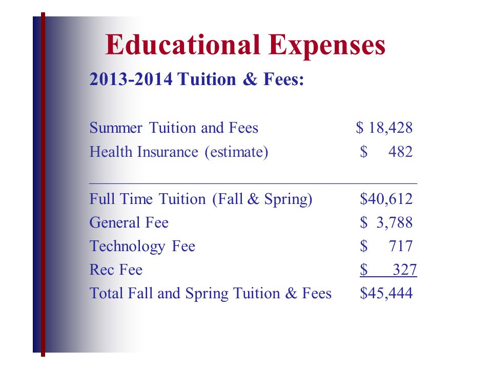 Educational Expenses 2013-2014 Tuition & Fees: Summer Tuition and Fees $ 18,428 Health Insurance (estimate) $ 482 ________________________________________ Full Time Tuition(Fall & Spring)$40,612 General Fee $ 3,788 Technology Fee$ 717 Rec Fee$ 327 Total Fall and Spring Tuition & Fees$45,444