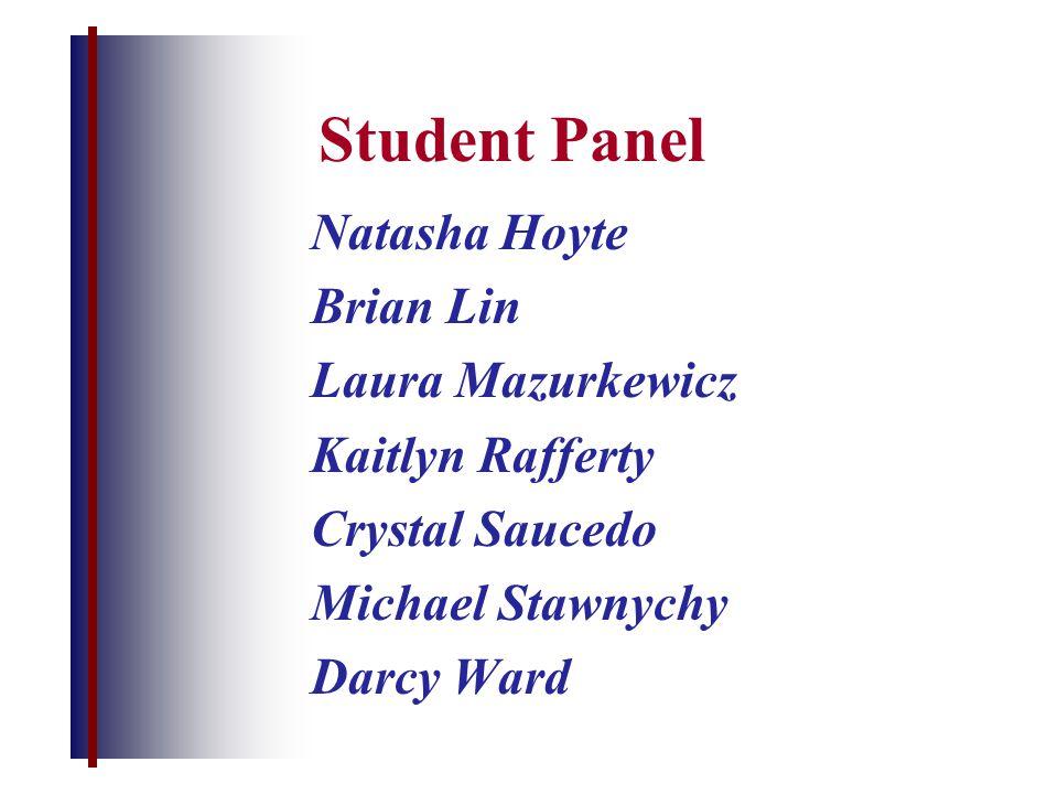 Student Panel Natasha Hoyte Brian Lin Laura Mazurkewicz Kaitlyn Rafferty Crystal Saucedo Michael Stawnychy Darcy Ward