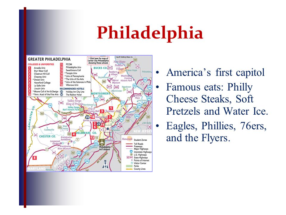 Philadelphia America's first capitol Famous eats: Philly Cheese Steaks, Soft Pretzels and Water Ice. Eagles, Phillies, 76ers, and the Flyers.