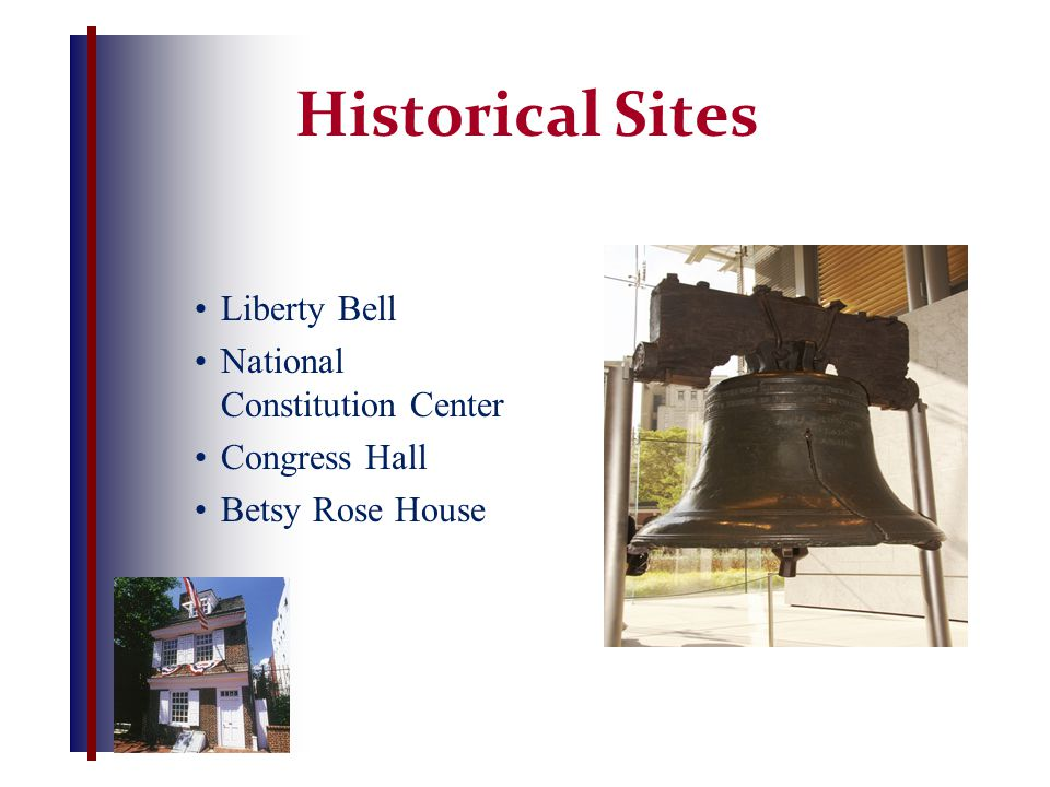 Historical Sites Liberty Bell National Constitution Center Congress Hall Betsy Rose House