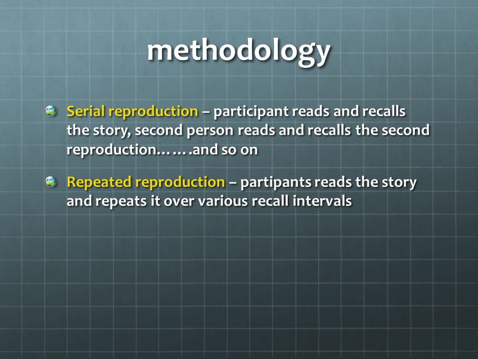 methodology Serial reproduction – participant reads and recalls the story, second person reads and recalls the second reproduction…….and so on Repeated reproduction – partipants reads the story and repeats it over various recall intervals