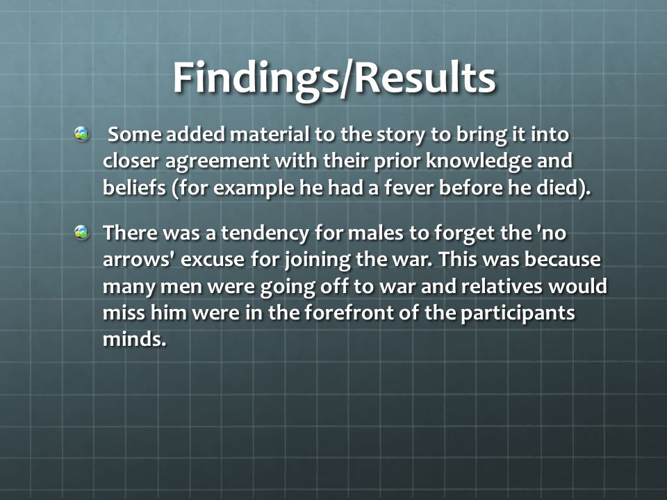 Findings/Results Some added material to the story to bring it into closer agreement with their prior knowledge and beliefs (for example he had a fever before he died).