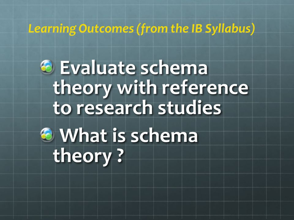 Evaluate schema theory with reference to research studies Evaluate schema theory with reference to research studies What is schema theory .