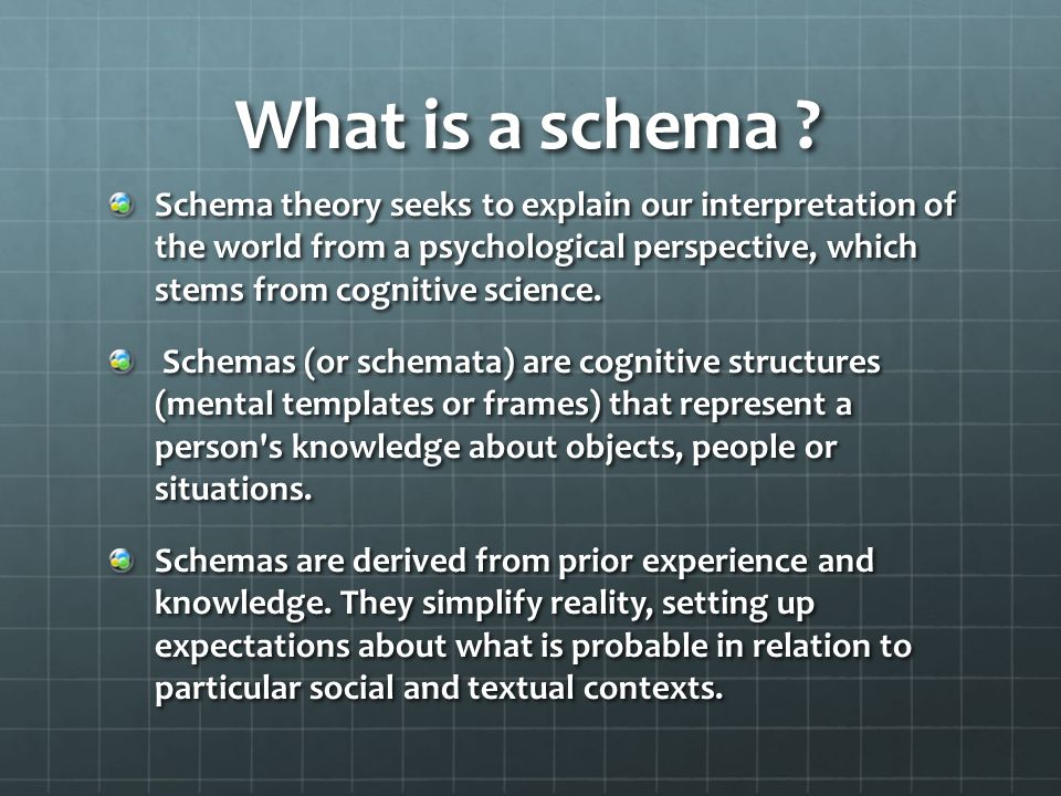 What is a schema ? Schema theory seeks to explain our interpretation of the world from a psychological perspective, which stems from cognitive science