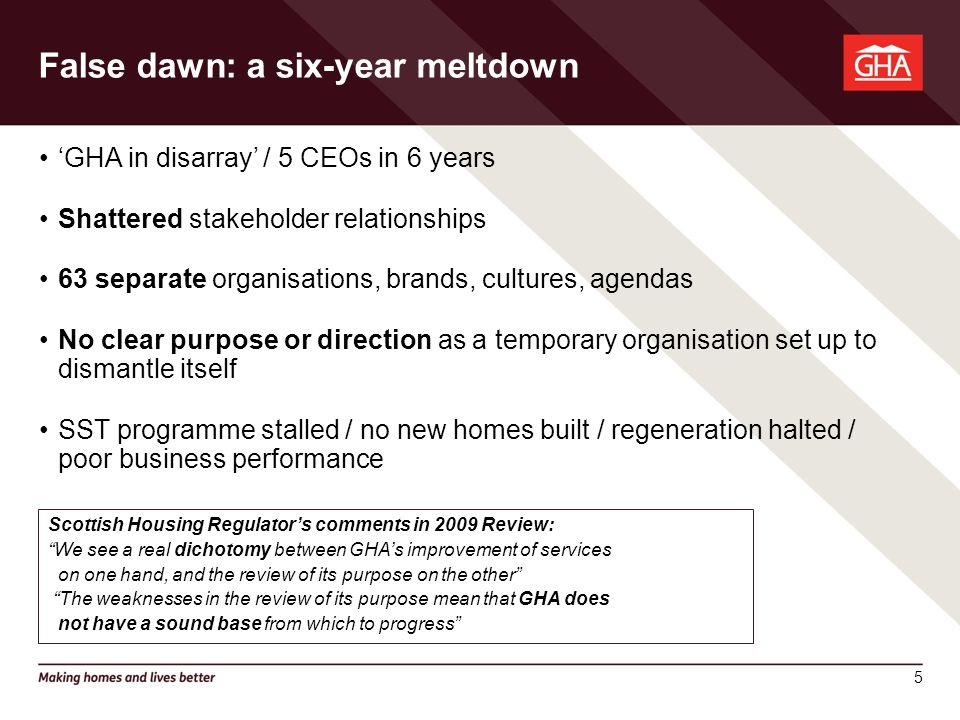 5 'GHA in disarray' / 5 CEOs in 6 years Shattered stakeholder relationships 63 separate organisations, brands, cultures, agendas No clear purpose or direction as a temporary organisation set up to dismantle itself SST programme stalled / no new homes built / regeneration halted / poor business performance Scottish Housing Regulator's comments in 2009 Review: We see a real dichotomy between GHA's improvement of services on one hand, and the review of its purpose on the other The weaknesses in the review of its purpose mean that GHA does not have a sound base from which to progress False dawn: a six-year meltdown