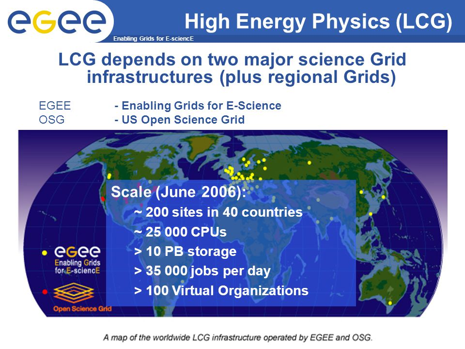 Enabling Grids for E-sciencE INFSO-RI-508833 10 LCG depends on two major science Grid infrastructures (plus regional Grids) EGEE - Enabling Grids for E-Science OSG - US Open Science Grid High Energy Physics (LCG) Scale (June 2006): ~ 200 sites in 40 countries ~ 25 000 CPUs > 10 PB storage > 35 000 jobs per day > 100 Virtual Organizations