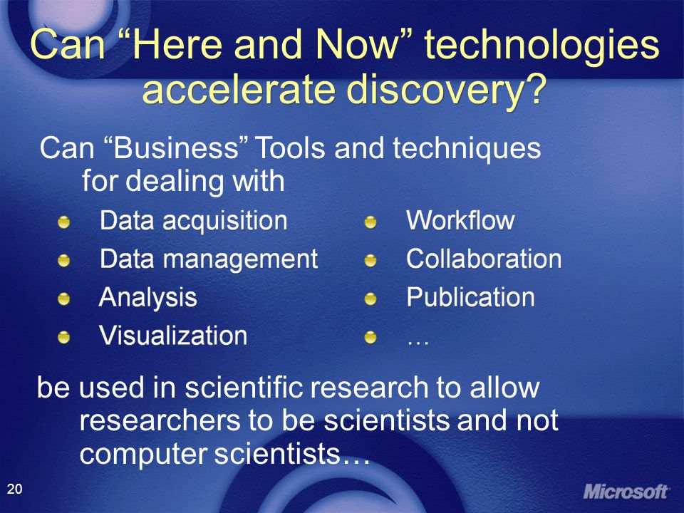 20 Can Here and Now technologies accelerate discovery.
