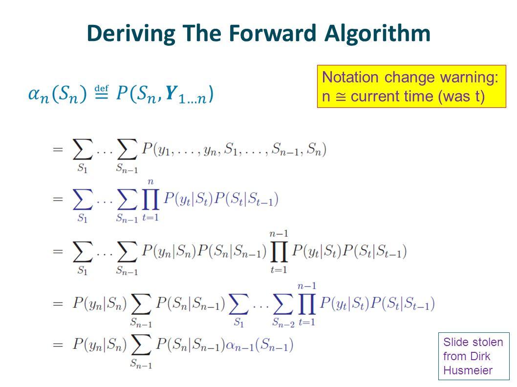 Deriving The Forward Algorithm Slide stolen from Dirk Husmeier Notation change warning: n ≅ current time (was t)