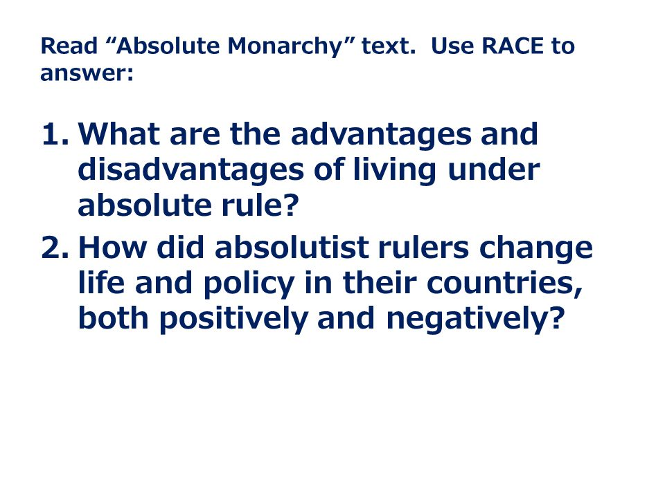Read Absolute Monarchy text.