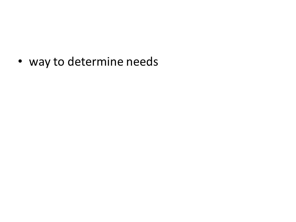 way to determine needs