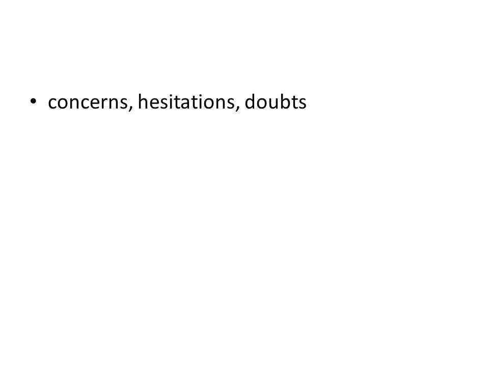 concerns, hesitations, doubts