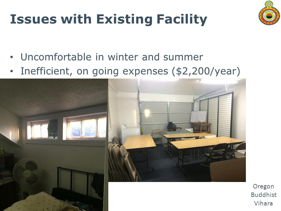 Oregon Buddhist Vihara Issues with Existing Facility Uncomfortable in winter and summer Inefficient, on going expenses ($2,200/year)