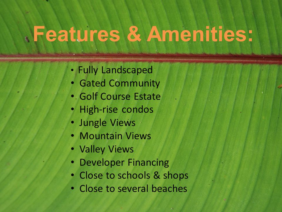 Features & Amenities: Fully Landscaped Gated Community Golf Course Estate High-rise condos Jungle Views Mountain Views Valley Views Developer Financing Close to schools & shops Close to several beaches