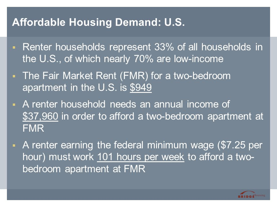 Affordable Housing Demand: U.S.  Renter households represent 33% of all households in the U.S., of which nearly 70% are low-income  The Fair Market