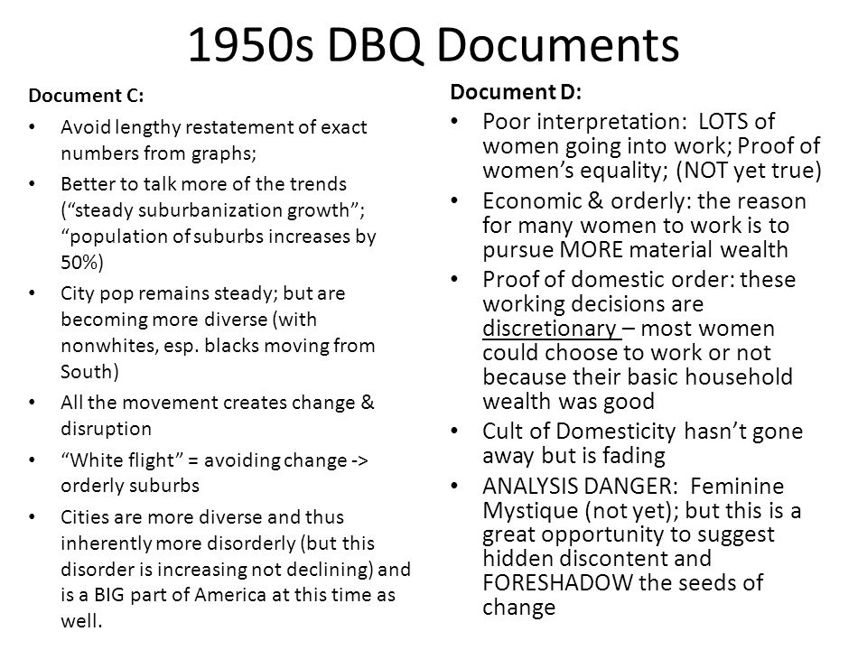 """1950s DBQ Documents Document C: Avoid lengthy restatement of exact numbers from graphs; Better to talk more of the trends (""""steady suburbanization gro"""