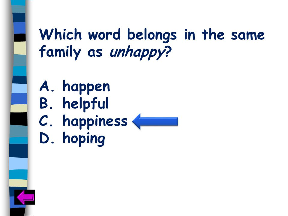 Which word belongs in the same family as unhappy A.happen B.helpful C.happiness D.hoping
