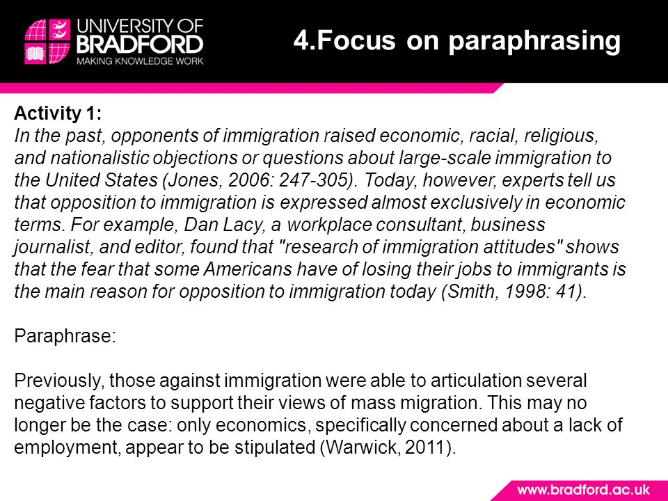 4.Focus on paraphrasing Activity 1: In the past, opponents of immigration raised economic, racial, religious, and nationalistic objections or questions about large-scale immigration to the United States (Jones, 2006: 247-305).