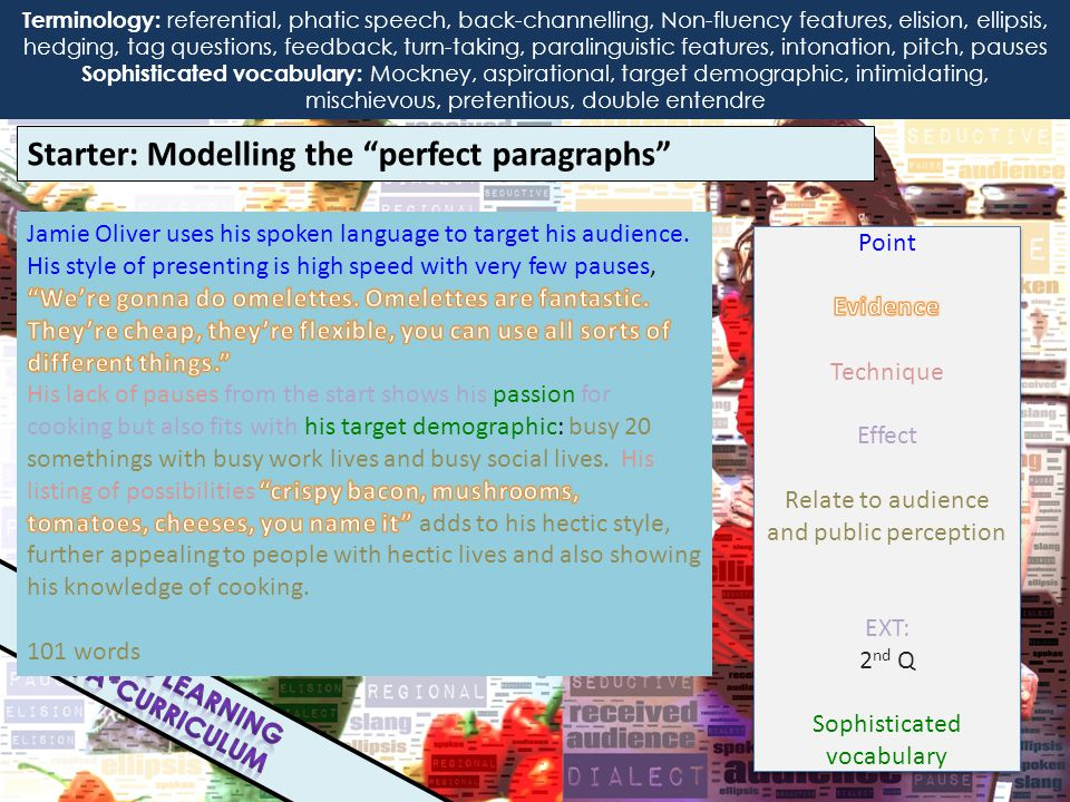 Starter: Modelling the perfect paragraphs Terminology: interactional, transactional, referential, phatic speech, back-channelling, Non-fluency features, elision, ellipsis, hedging, tag questions, feedback, paralinguistic Features, intonation, pitch, pauses, received pronunciation, slang, dialect People can find received pronunciation and standard English intimidating or pretentious in TV presenters.