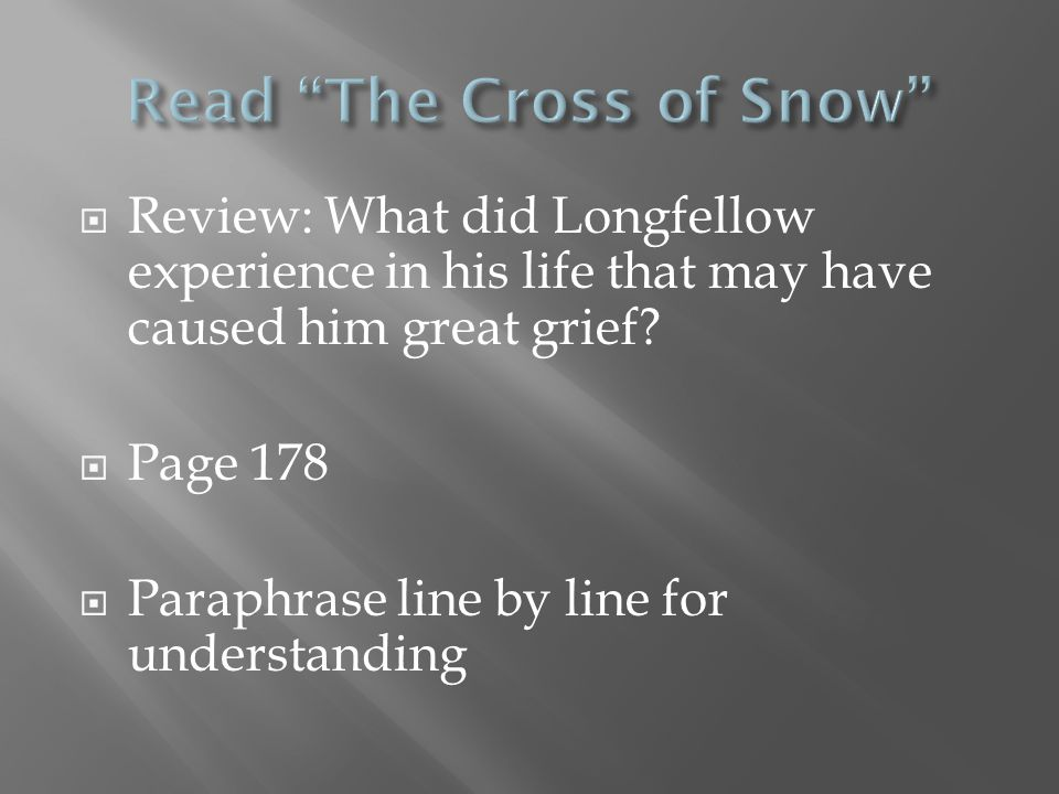  Why is grief so difficult to express?  Why might have Longfellow put this poem aside?