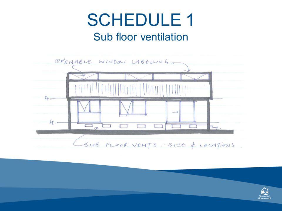 SCHEDULE 1 Sub floor ventilation