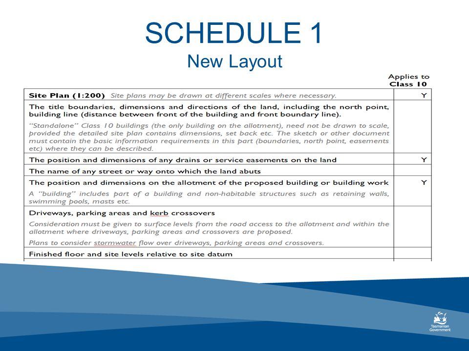 SCHEDULE 1 New Layout