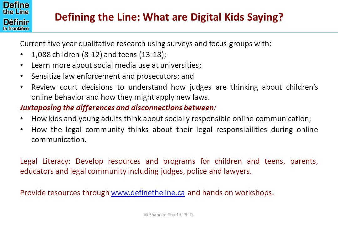 Defining the Line: What are Digital Kids Saying.