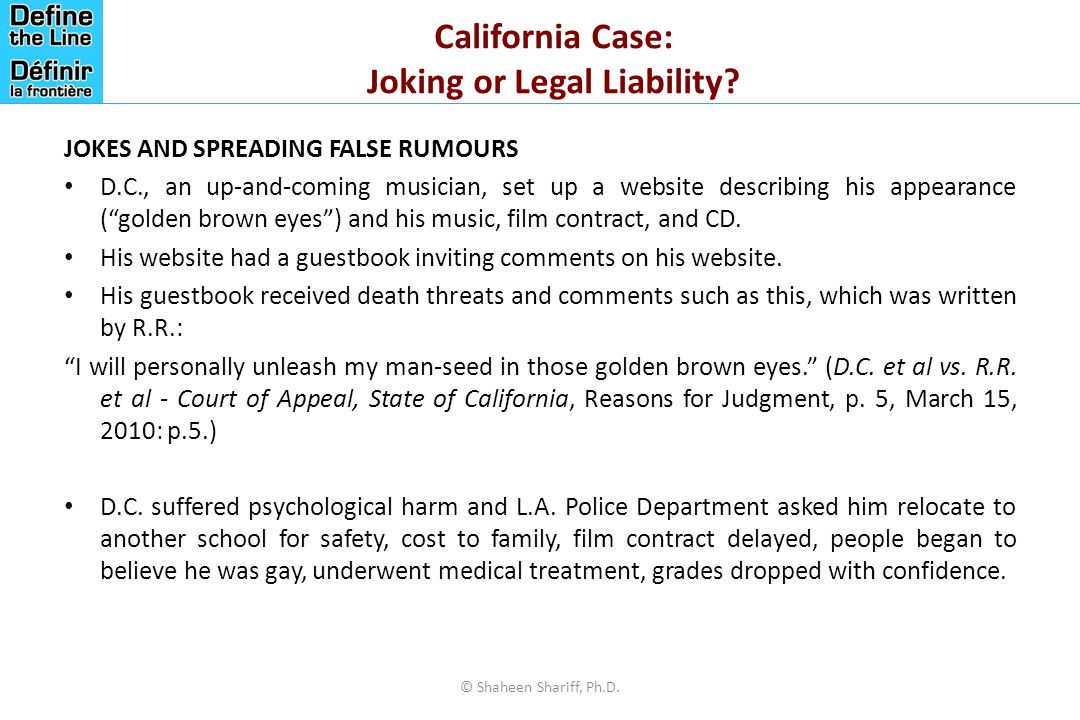 California Case: Joking or Legal Liability.