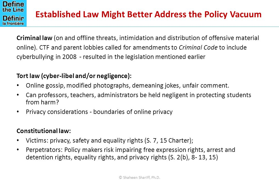 Established Law Might Better Address the Policy Vacuum Criminal law (on and offline threats, intimidation and distribution of offensive material online).