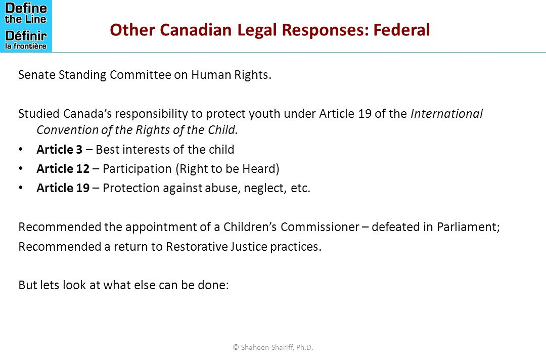Other Canadian Legal Responses: Federal Senate Standing Committee on Human Rights.