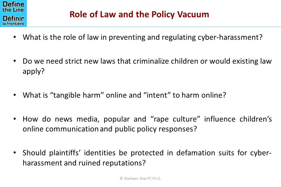 Role of Law and the Policy Vacuum What is the role of law in preventing and regulating cyber-harassment.