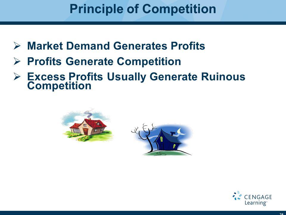 Principle of Competition  Market Demand Generates Profits  Profits Generate Competition  Excess Profits Usually Generate Ruinous Competition 24