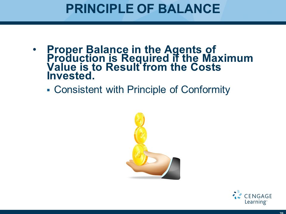 PRINCIPLE OF BALANCE Proper Balance in the Agents of Production is Required if the Maximum Value is to Result from the Costs Invested.