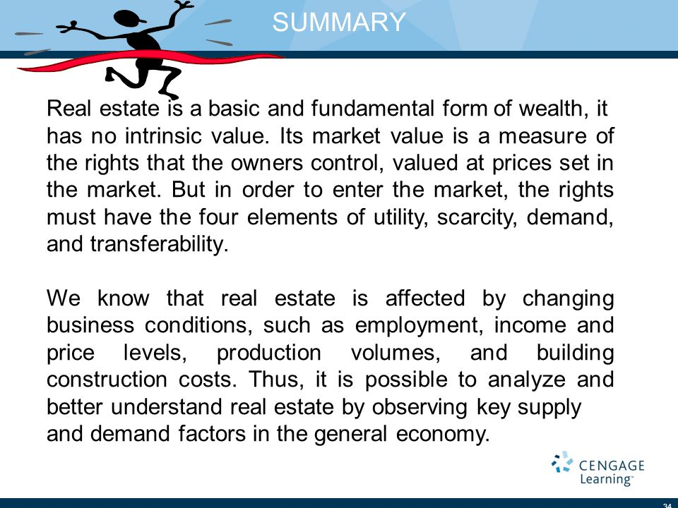 SUMMARY 34 Real estate is a basic and fundamental form of wealth, it has no intrinsic value.