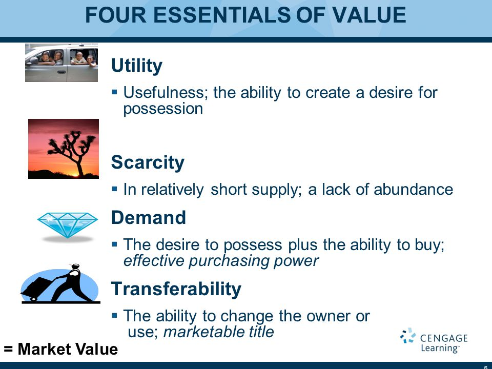 FOUR ESSENTIALS OF VALUE Utility  Usefulness; the ability to create a desire for possession Scarcity  In relatively short supply; a lack of abundance Demand  The desire to possess plus the ability to buy; effective purchasing power Transferability  The ability to change the owner or use; marketable title 6 = Market Value