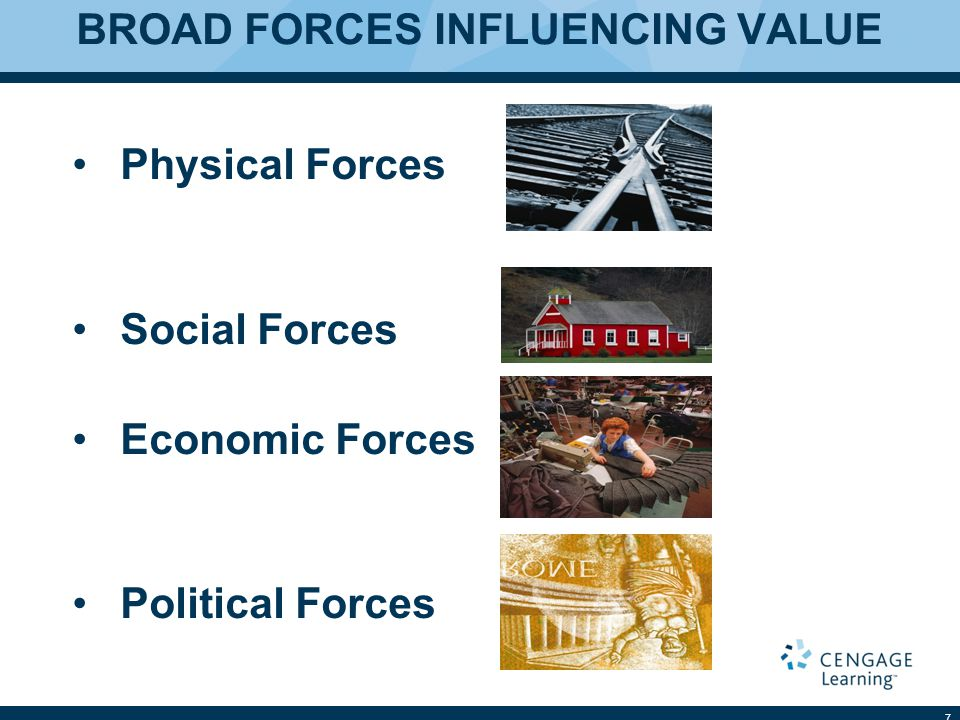 BROAD FORCES INFLUENCING VALUE Physical Forces Social Forces Economic Forces Political Forces 7