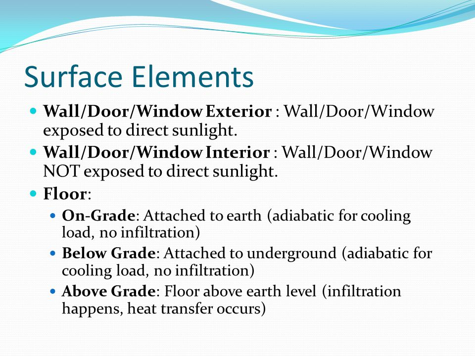 Surface Elements Wall/Door/Window Exterior : Wall/Door/Window exposed to direct sunlight. Wall/Door/Window Interior : Wall/Door/Window NOT exposed to