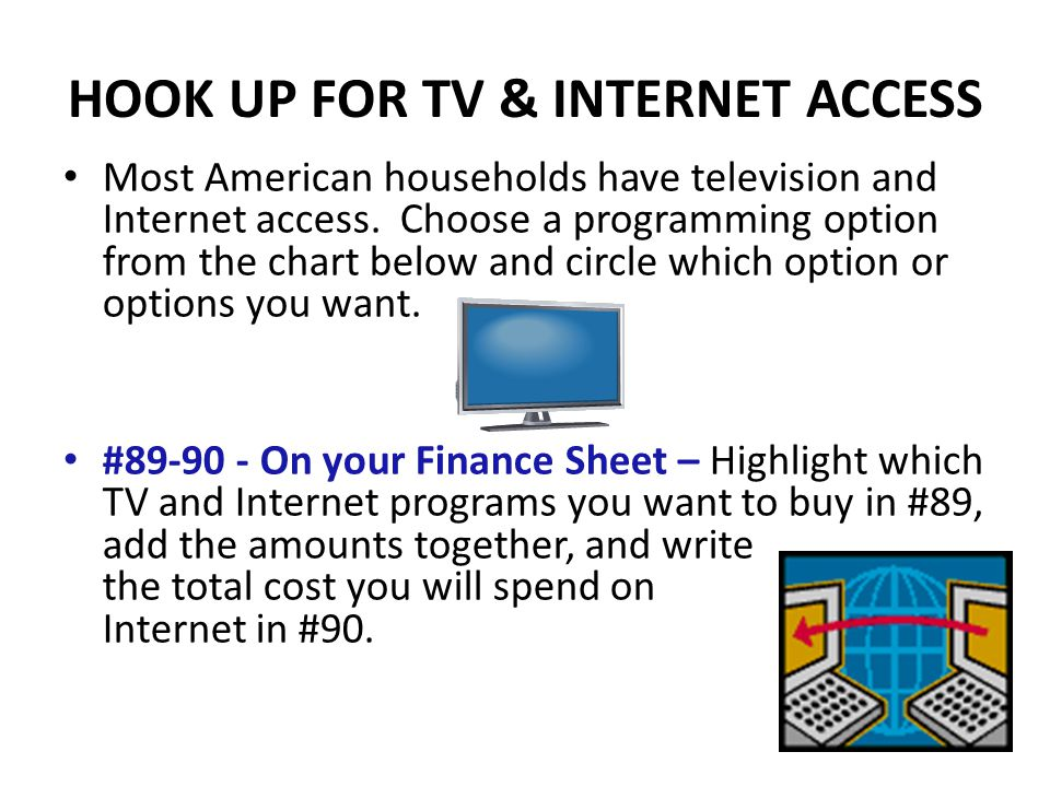 HOOK UP FOR TV & INTERNET ACCESS Most American households have television and Internet access.