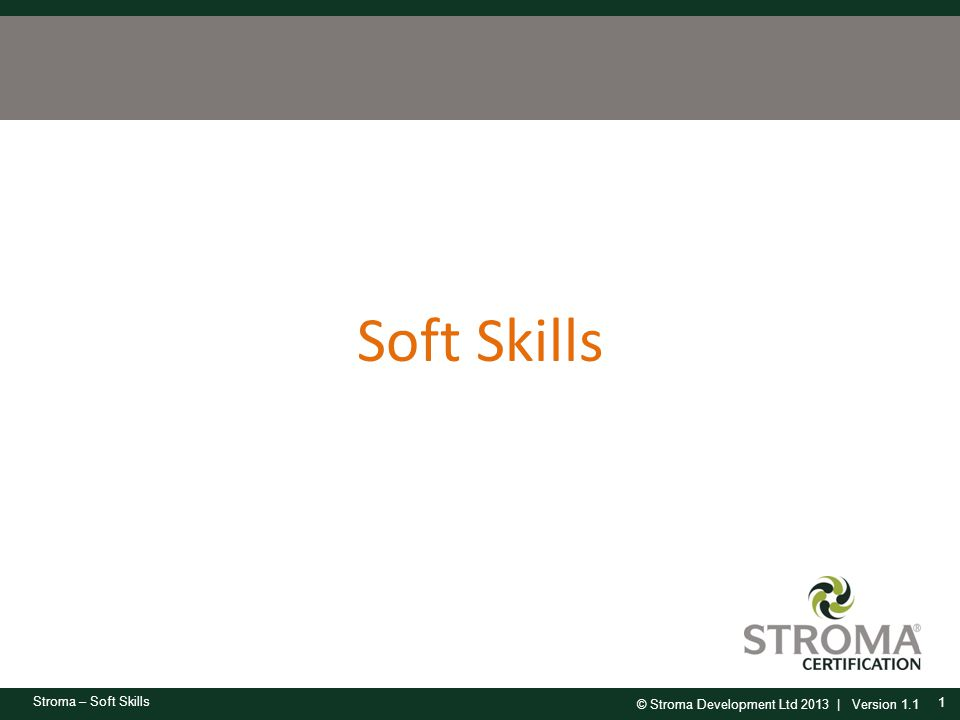 © Stroma Development Ltd 2013 | Version 1.1 Stroma – Soft Skills Soft Skills 1