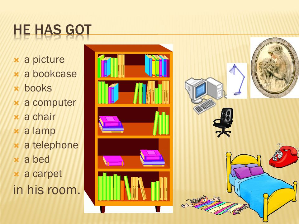  a picture  a bookcase  books  a computer  a chair  a lamp  a telephone  a bed  a carpet in his room.